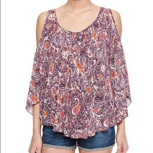 Free People Paisley Cold Shoulder Top